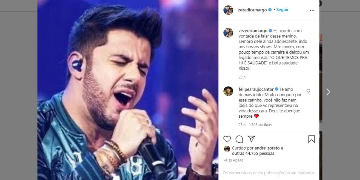 Cristiano Araújo foi homenageado por Zezé (Foto: Reprodução/Instagram)