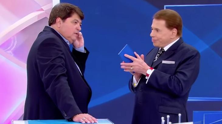 Datena e Silvio Santos durante programa do dono do SBT - Foto: Reprodução