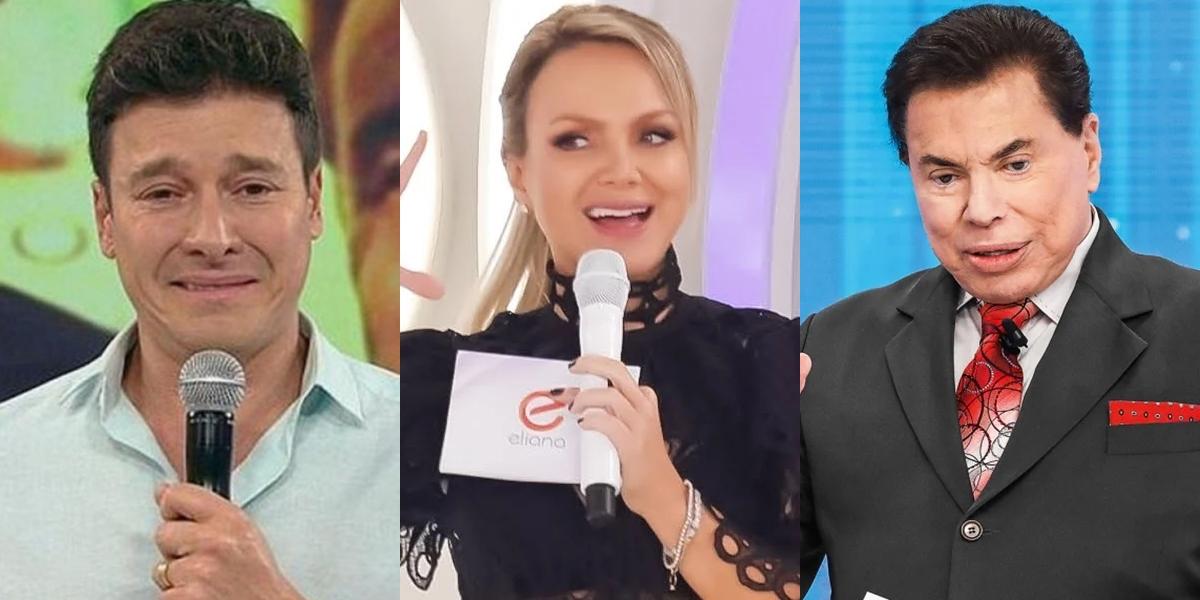 Rodrigo Faro, Eliana e Silvio Santos em seus dominicais; loira foi vice-líder de audiência e desbancou até o patrão (Foto: Reprodução/Record/SBT)