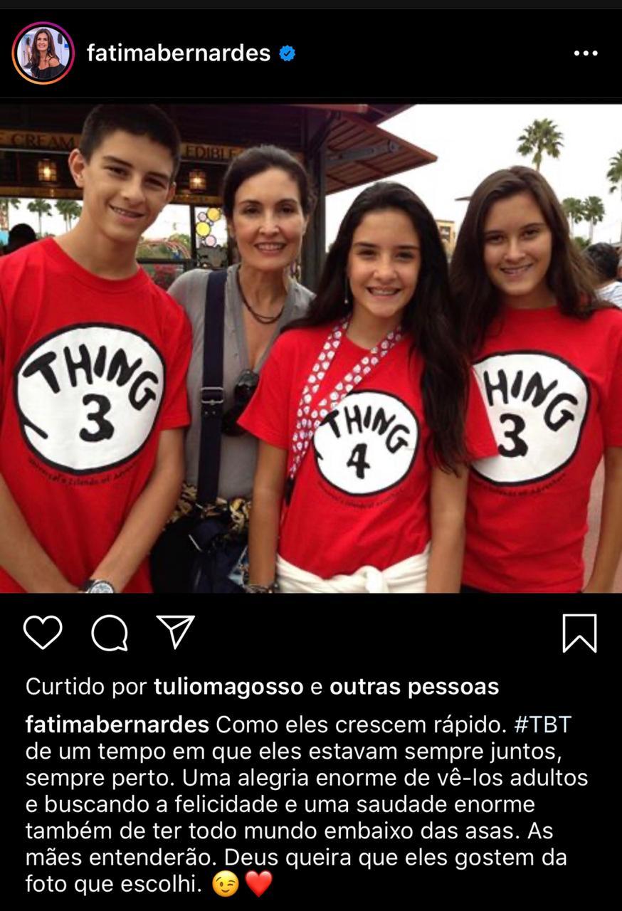 Fátima Bernardes sente falta de ter os filhos juntos em casa - (Reprodução/Instagram)