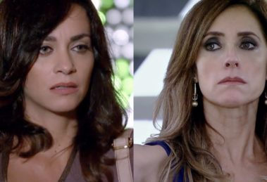 Joana (Suzana Pires) entrega prova contra Tereza Cristina (Christiane Torloni) à polícia em Fina Estampa (Foto: Reprodução/Globo)
