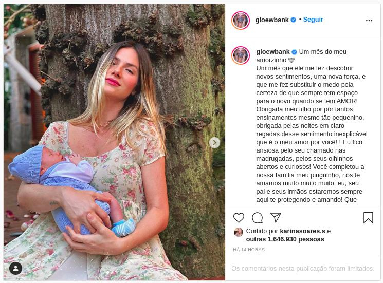 Giovanna Ewbank celebra primeiro mês de nascimento do pequeno Zyan, seu terceiro filho com o ator Bruno Gagliasso (Foto: Reprodução/ Instagram)