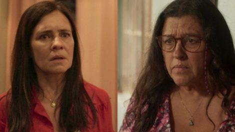 Adriana Esteves (Thelma) e Regina Casé (Lurdes) em Amor de Mãe; novela das nove teve capítulos cortados (Foto: Reprodução/Globo)
