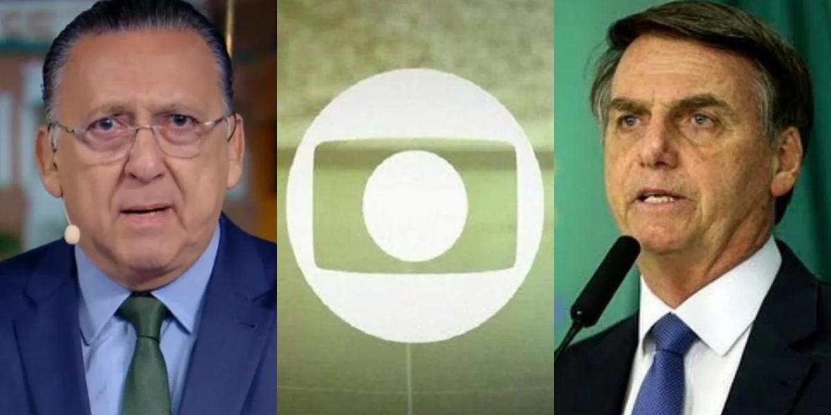 Galvão Bueno, principal nome do esporte da Globo, e o presidente Jair Bolsonaro; emissora acionou a Turner na Justiça por exclusividade do futebol (Foto: Reprodução/Globo)
