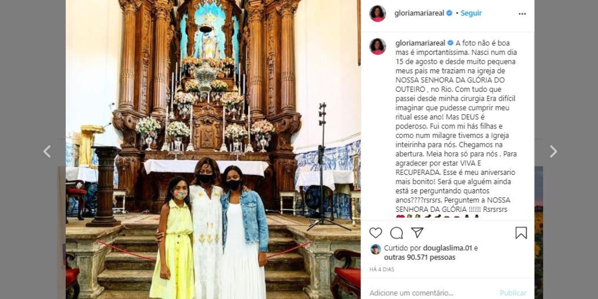 Glória Maria comemorou aniversário com as filhas (Foto: Reprodução/Instagram)