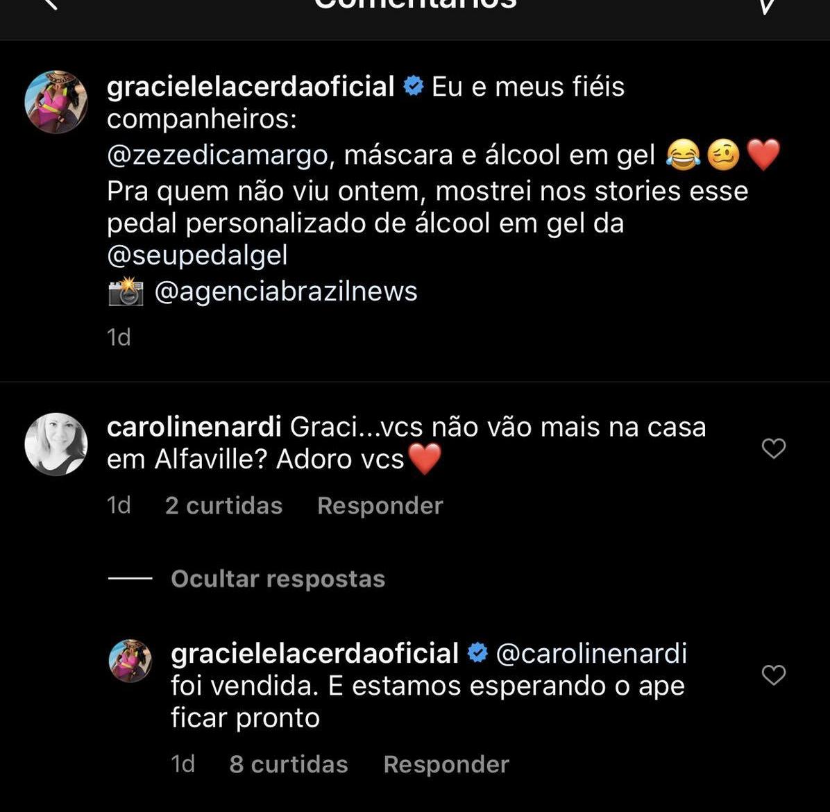 Graciele Lacerda comentou sobre a mansão que vivia com Zezé (Foto: reprodução/Instagram)