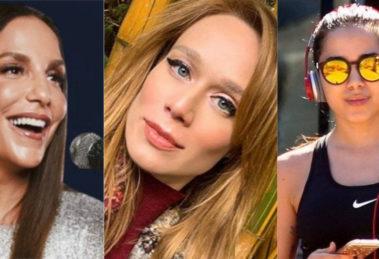 Foto montagem das personalidades Ivete Sangalo, Mariana Ximenes e Anitta que estão em Haja Coração
