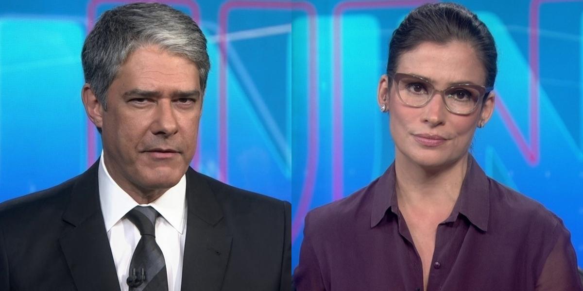 William Bonner e Renata Vasconcellos no Jornal Nacional, que perdeu audiência em meio à pandemia (Foto: Reprodução/Globo)