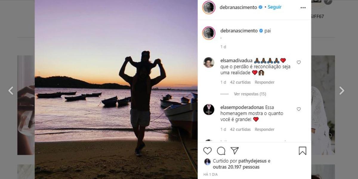 Débora Nascimento publicou foto de José Loreto com a sua filha, Bella, no Dia dos Pais (Foto: Reprodução/Instagram)
