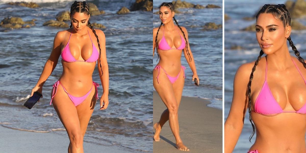 Kim Kardashian de biquíni na praia (Foto: Reprodução)