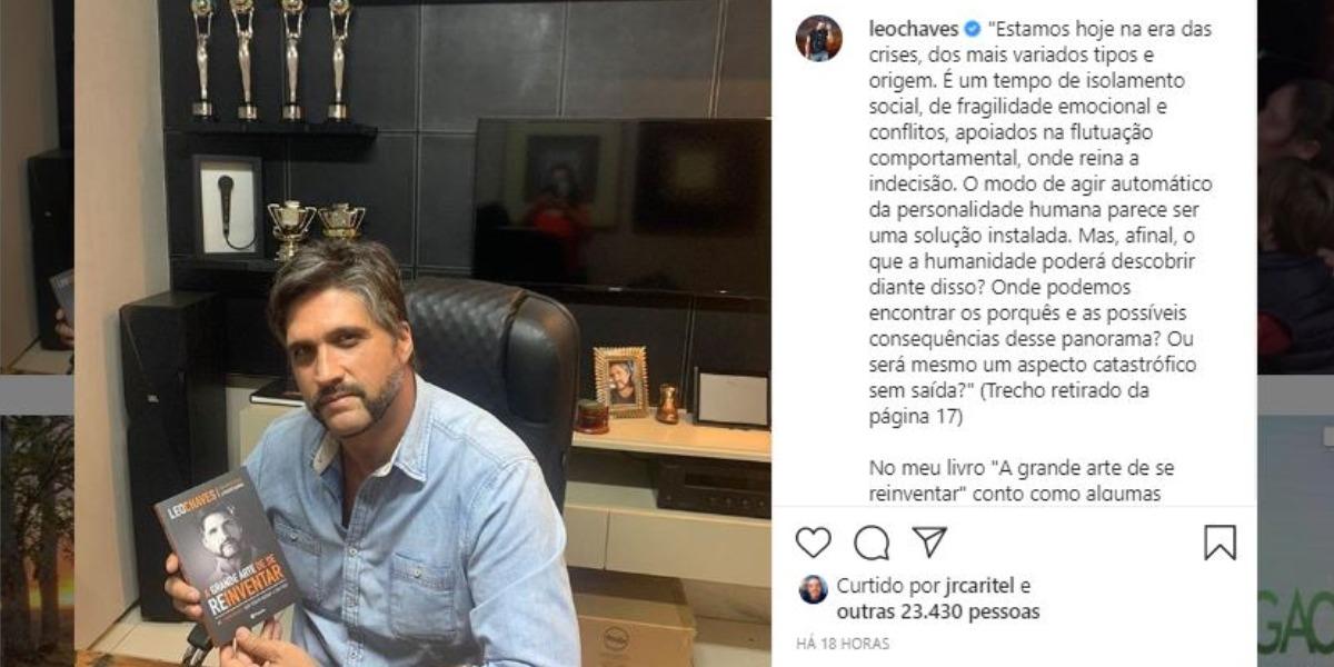 """Léo Chaves lançou o livro """"A grande arte de se reinventar"""" (Foto: Reprodução/Instagram)"""