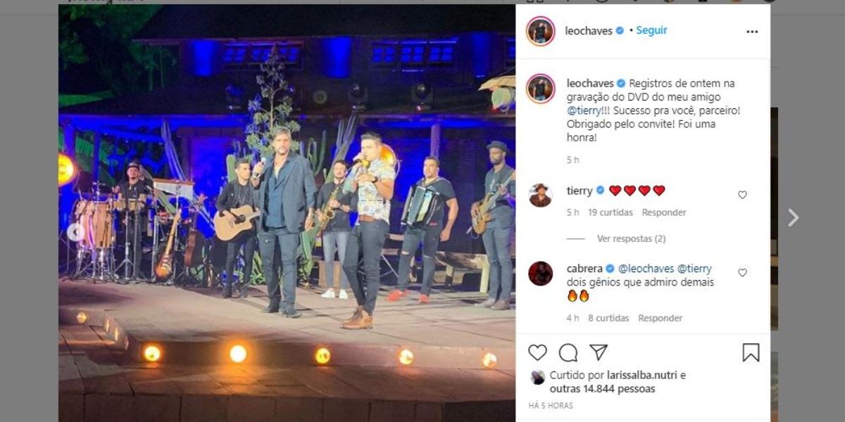 Léo Chaves surgiu com o cantor Tierry (Foto: Reprodução/Instagram)