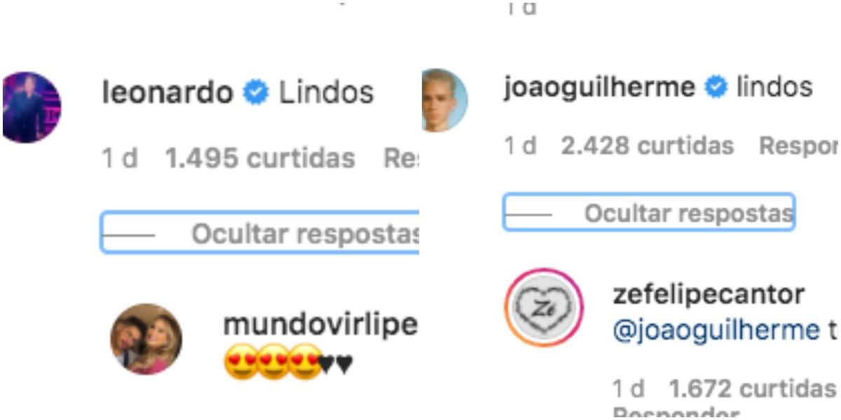 João Guilherme e Leonardo comentaram em postagem de Zé Felipe, mas não interagiram entre si nas 'replies'