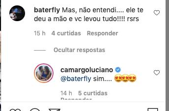 Luciano Camargo respondeu um seguidor (Foto: reprodução/Instagram)