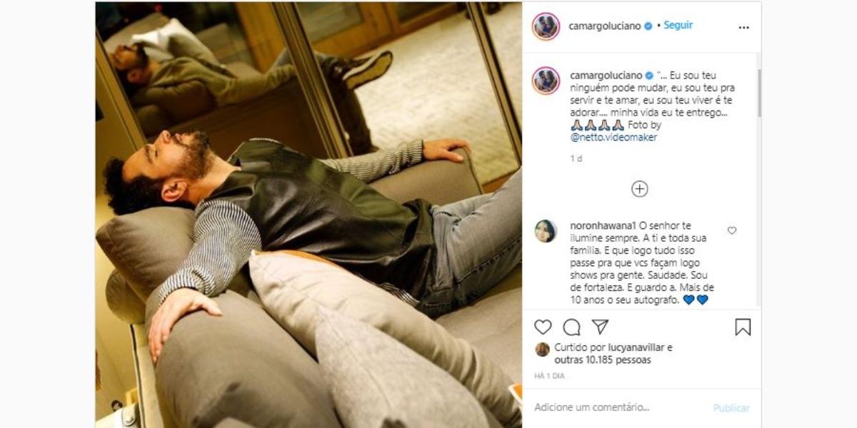 Luciano Camargo usou louvor para desabafar (Foto: Reprodução/Instagram)