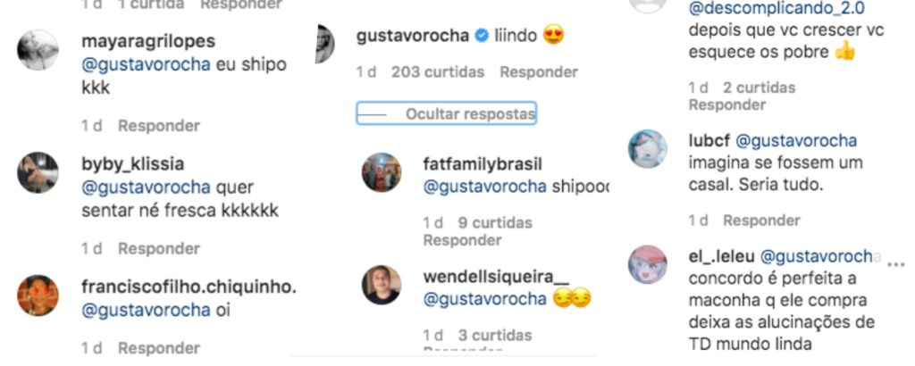 João Guilherme recebeu vários comentários no Instagram, após famoso dar em cima dele (Foto montagem)