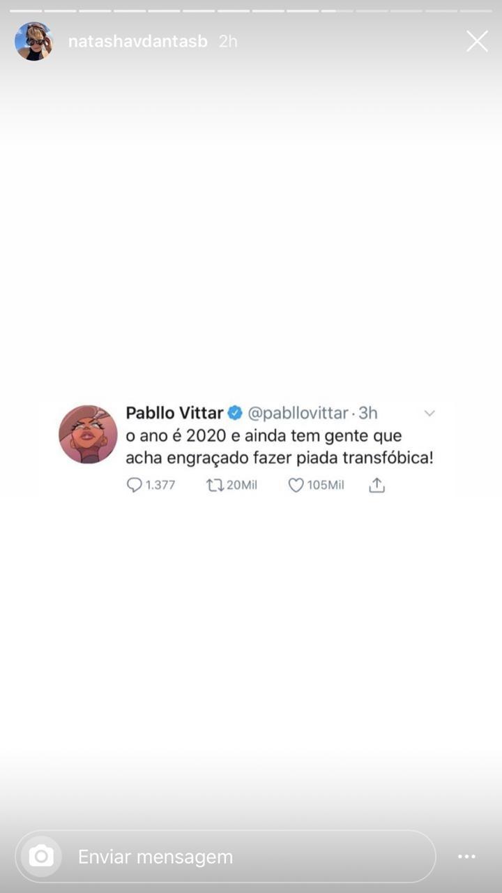 Natasha Dantas se envolveu em uma polêmica ao compartilhar o tweet de Pabllo Vittar (Foto: reprodução/Instagram)