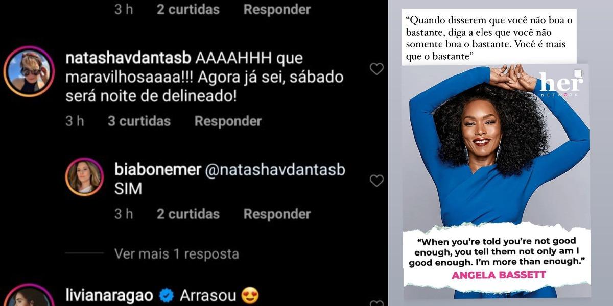 Comentário de Natasha Dantas em post de Bia Bonemer e story de hoje sobre empoderamento (Foto: Reprodução/Instagram)
