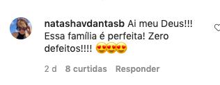 Natasha Dantas comentou na postagem de Bia Bonemer (Reprodução)