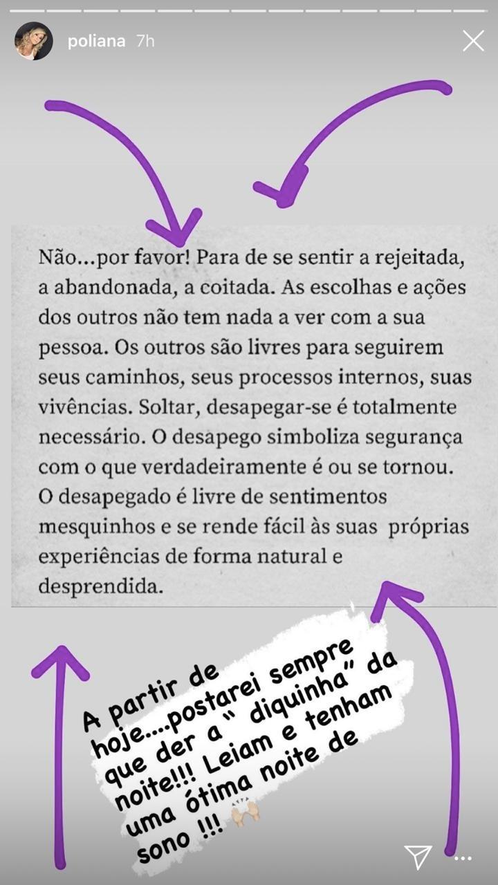 Poliana Rocha em seu stories (Foto: reprodução/Instagram)