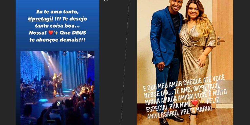 Preta Gil recebeu toda declaração de amor de Thiaguinho, ex de Fernanda Souza (Foto montagem)
