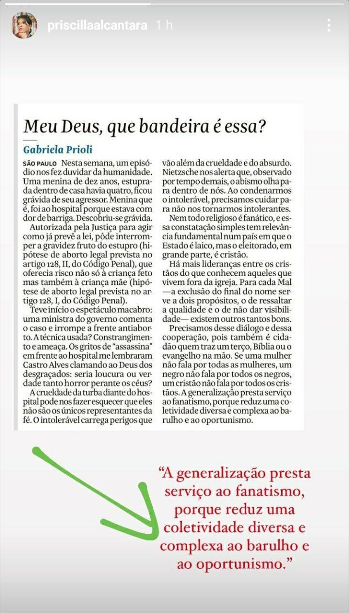 Priscilla Alcantara manda indireta ao Silas Malafaia (Foto: Reprodução)