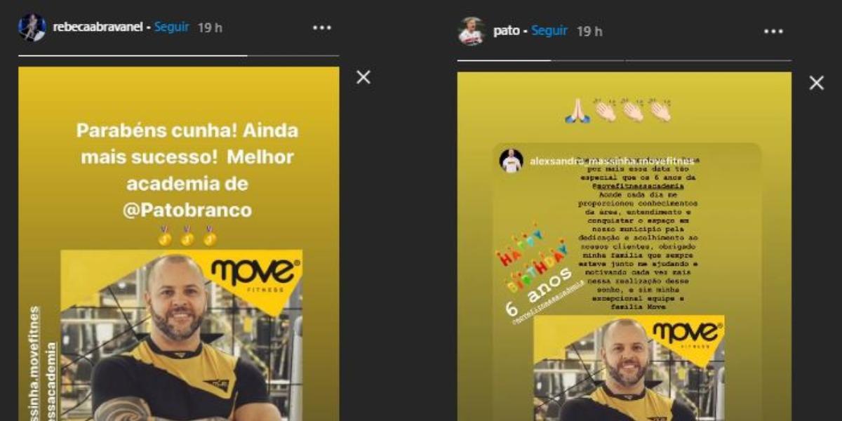 Rebeca Abravanel e Alexandre Pato homenagearam Alexsandro (Foto: Reprodução/Instagram)