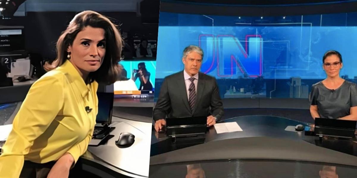 Renata Vasconcellos comanda o Jornal Nacional ao lado de William Bonner (Foto: montagem)
