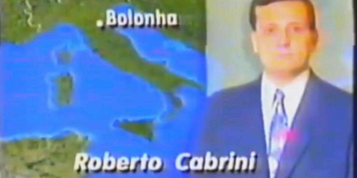 Roberto Cabrini noticiou a morte de Ayrton Senna no Plantão Globo (Foto: Reprodução/TV Globo)