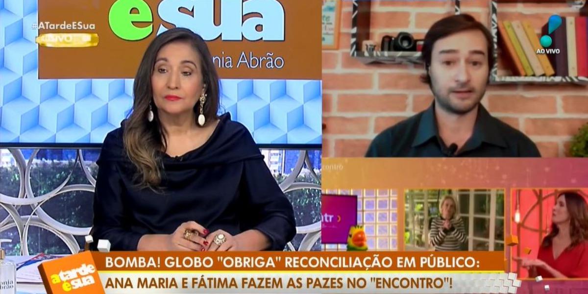 Sonia Abrão com Alessandro Lo-Bianco no programa A Tarde é Sua (Foto: Reprodução/RedeTV!)