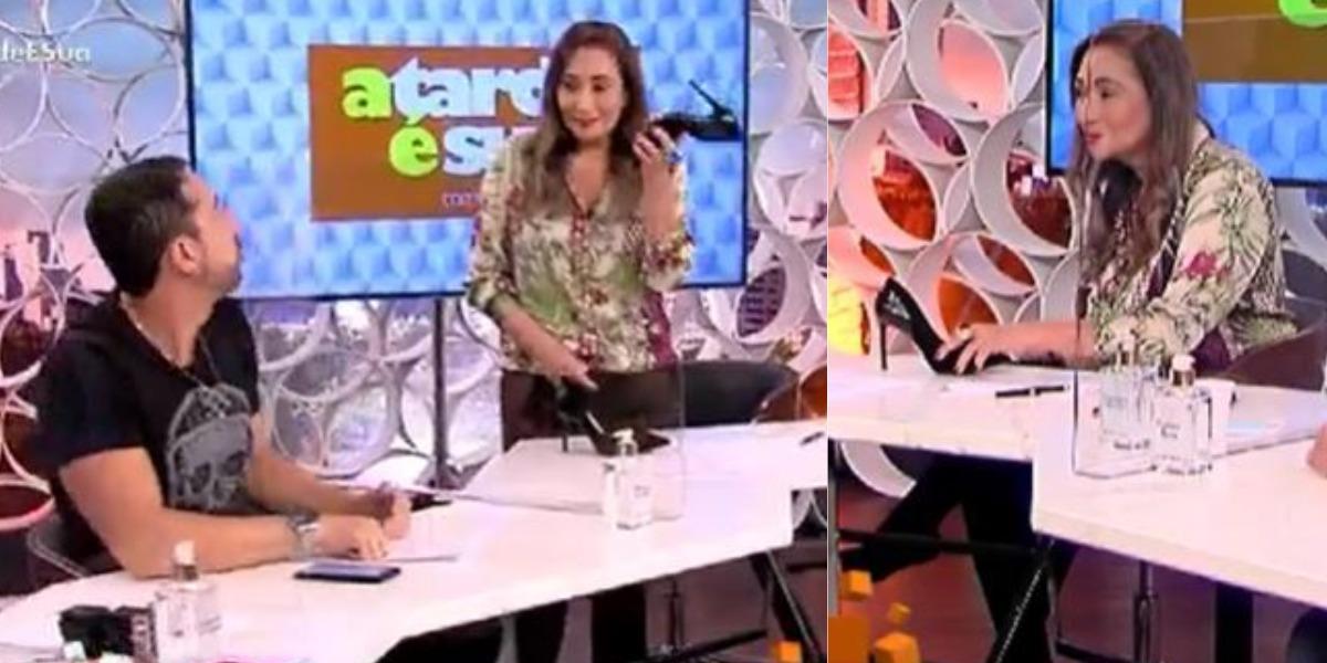 Sonia Abrão tirou o salto e ameaçou Thiago Rocha (Foto: Reprodução/RedeTV!)