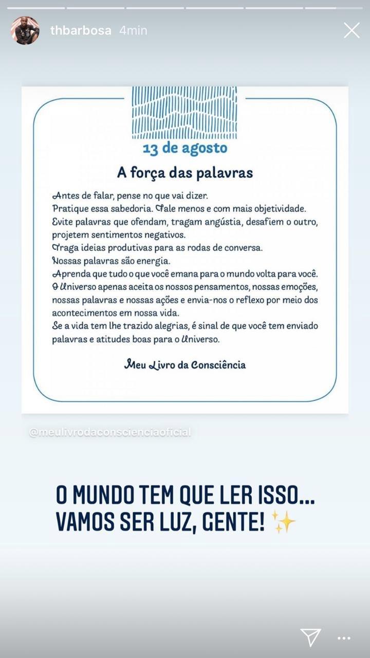 Thiaguinho em seus stories (Foto: reprodução/Instagram)