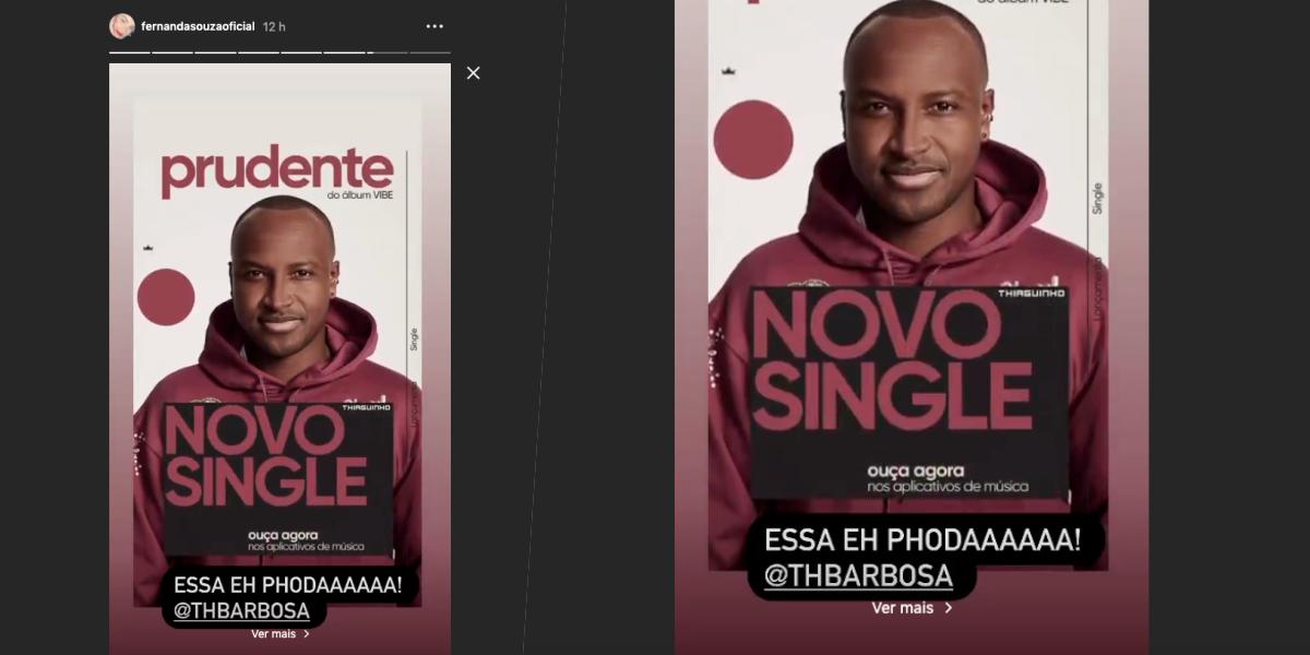 Cantor lança single Prudente e Fernanda Souza compartilha divulgação (Foto: Montagem)