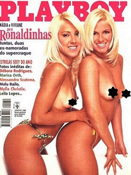 As ex de Ronaldo Fenômeno, Vivi Brunieri e Nadya peladas na capa da Playboy (Reprodução)