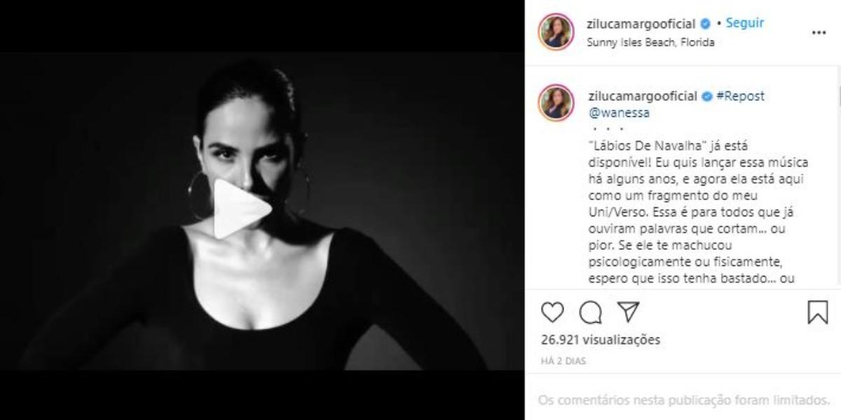 Wanessa Camargo foi homenageada por Zilu (Foto: Reprodução/Instagram)
