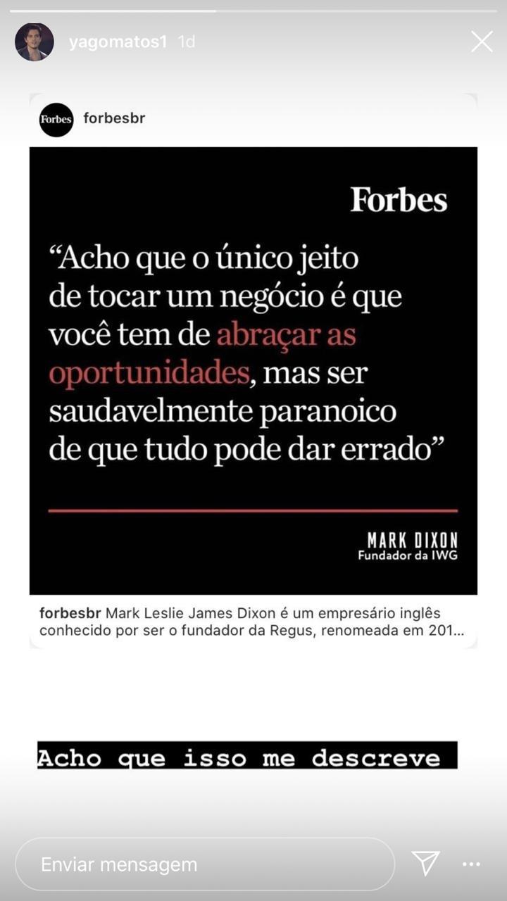 Yago Matos em seu storie (Foto: reprodução/Instagram)