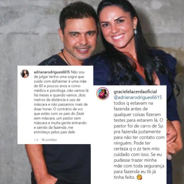 Graciele Lacerda rebateu uma seguidora (Foto: montagem)