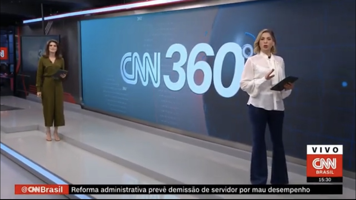 Carol Nogueira e Daniela Lima no novo cenário do 360º (foto: Reprodução/CNN Brasil)