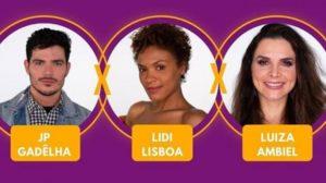 JP Gadêlha, Lidi Lisboa e Luiza Ambiel (Foto: Reprodução)