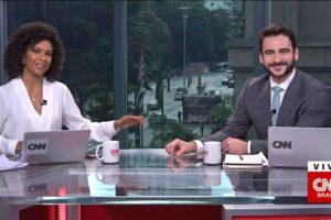 Luciana Barreto e Evandro Cini apresentam o Visão (foto: Reprodução/CNN Brasil)