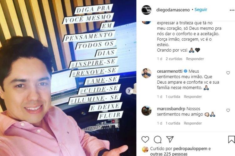 Irmão de Daniel Damasceno lamentou morte do artista (Foto: Reprodução)