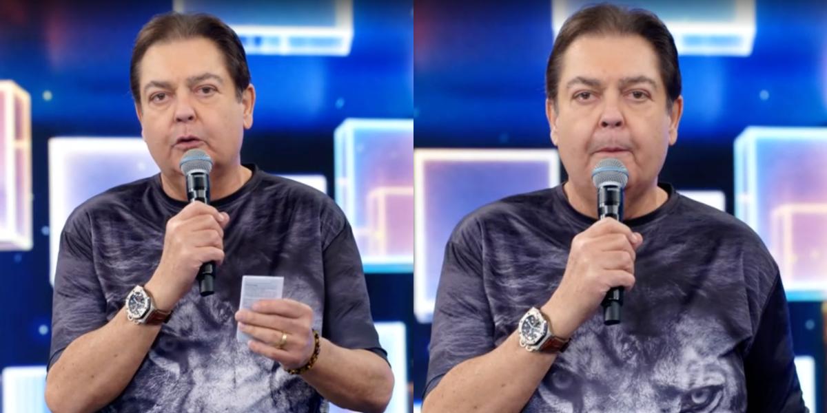Fausto Silva em seu programa na TV Globo (Foto: Montagem)