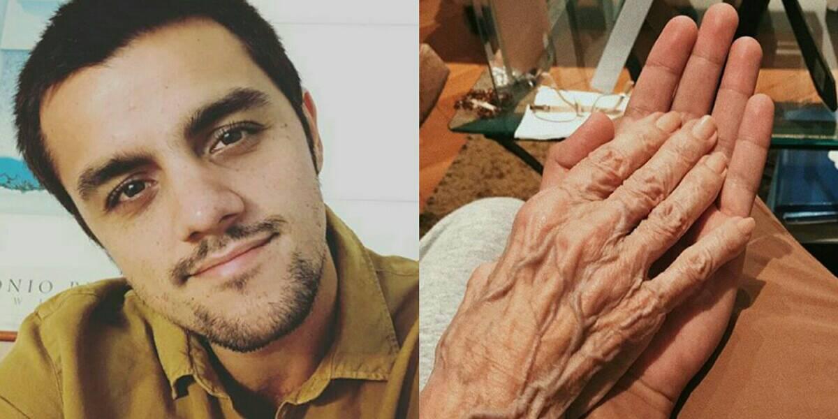 Felipe Simas se despede da avó (Foto: Reprodução)