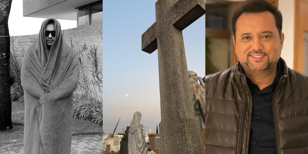 Geraldo Luís em foto no cemitério (Foto: Montagem)