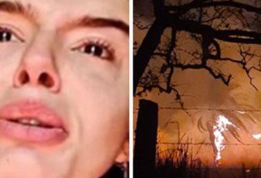 Giovanna Lancelotti exibindo o fogo aos arredores do seu sítio (Foto: Montagem/TV Foco)