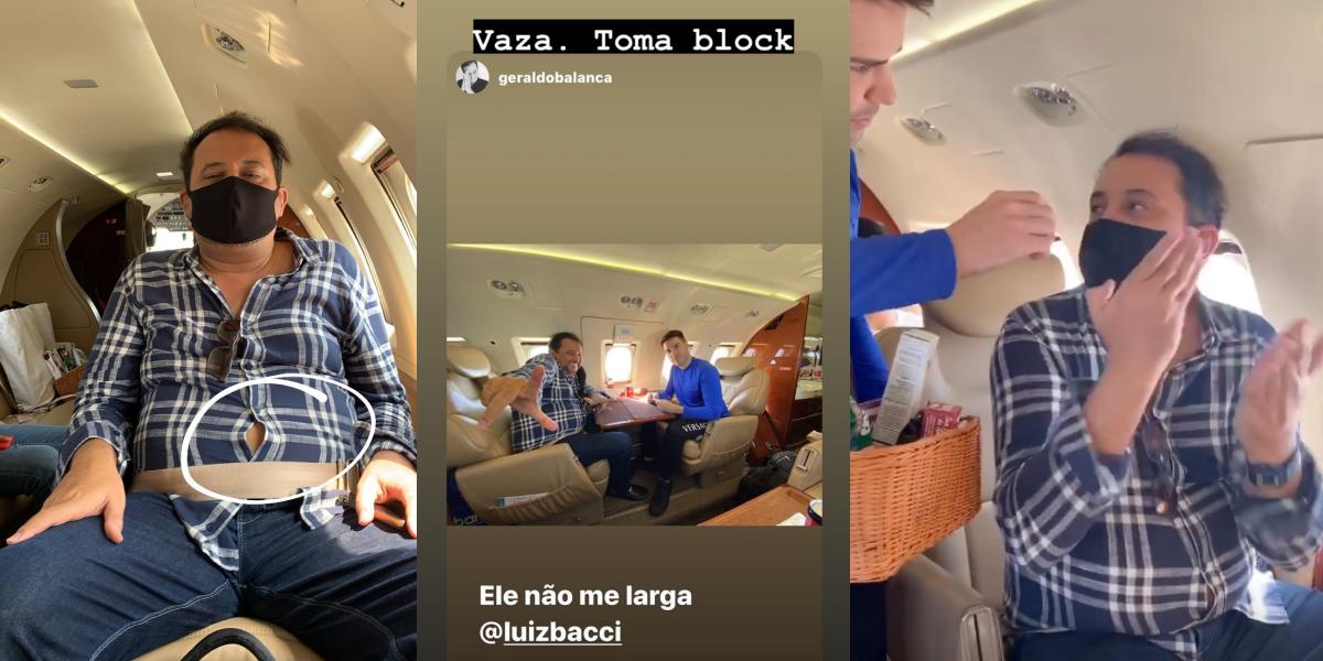 Bacci e Geraldo juntos na mesma aeronave (Foto: Montagem)