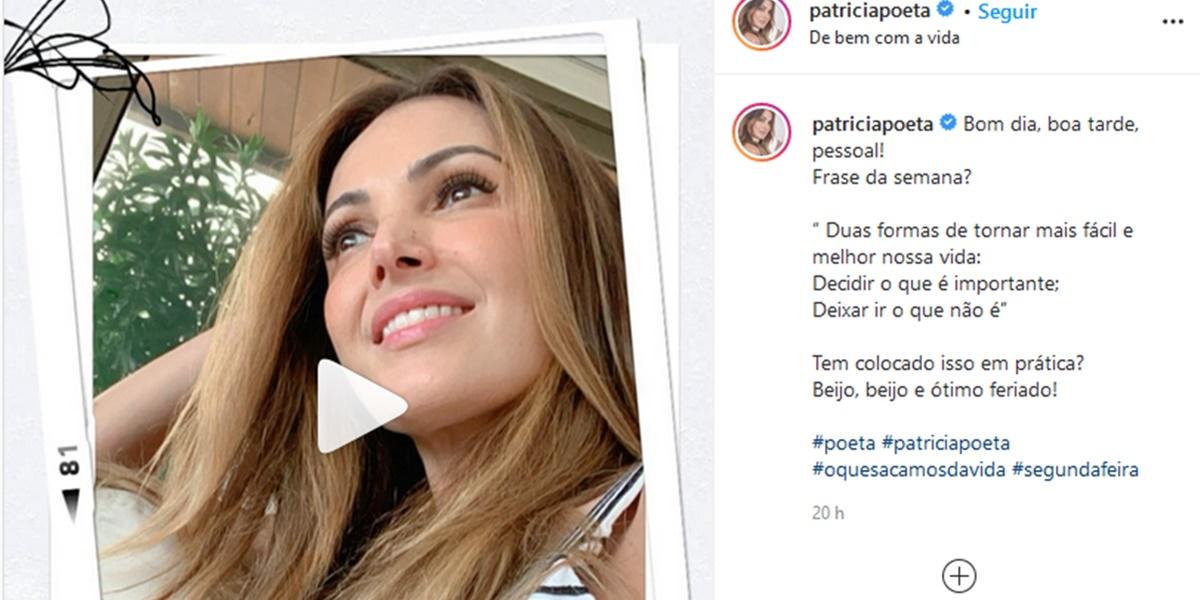 Publicação de Patrícia Poeta (Foto: Reprodução)
