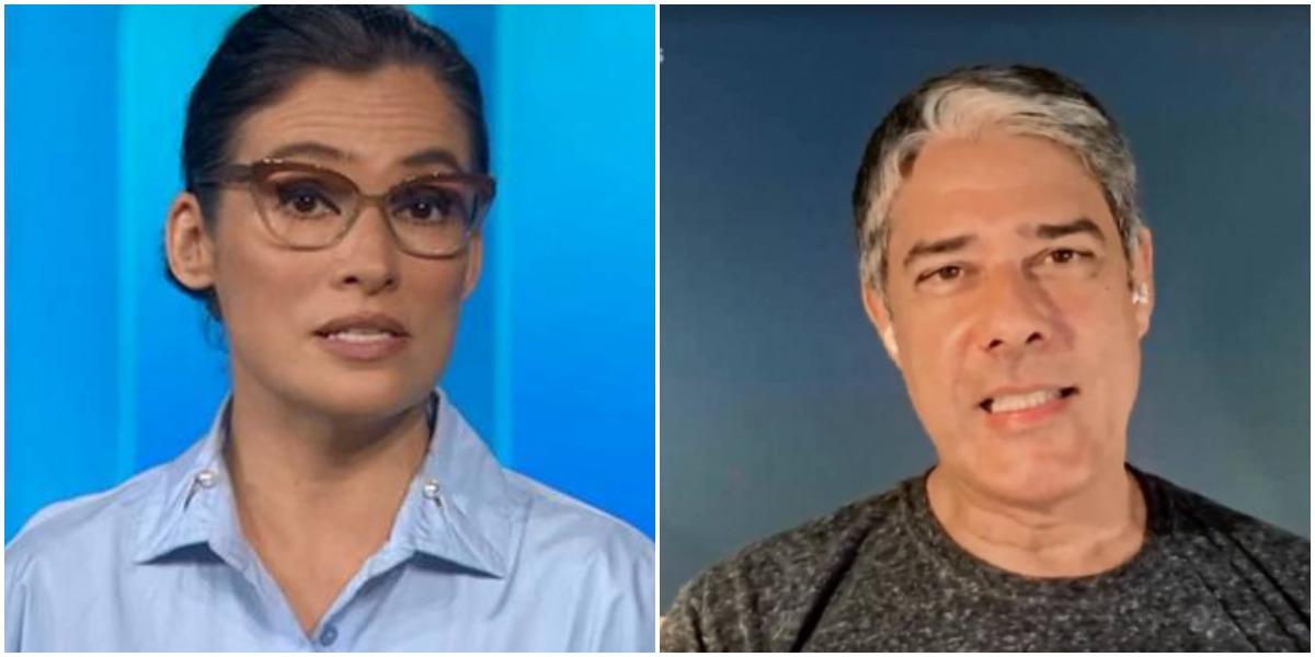Renata Vasconcellos e William Bonner são âncoras do Jornal Nacional, na Globo (Reprodução)