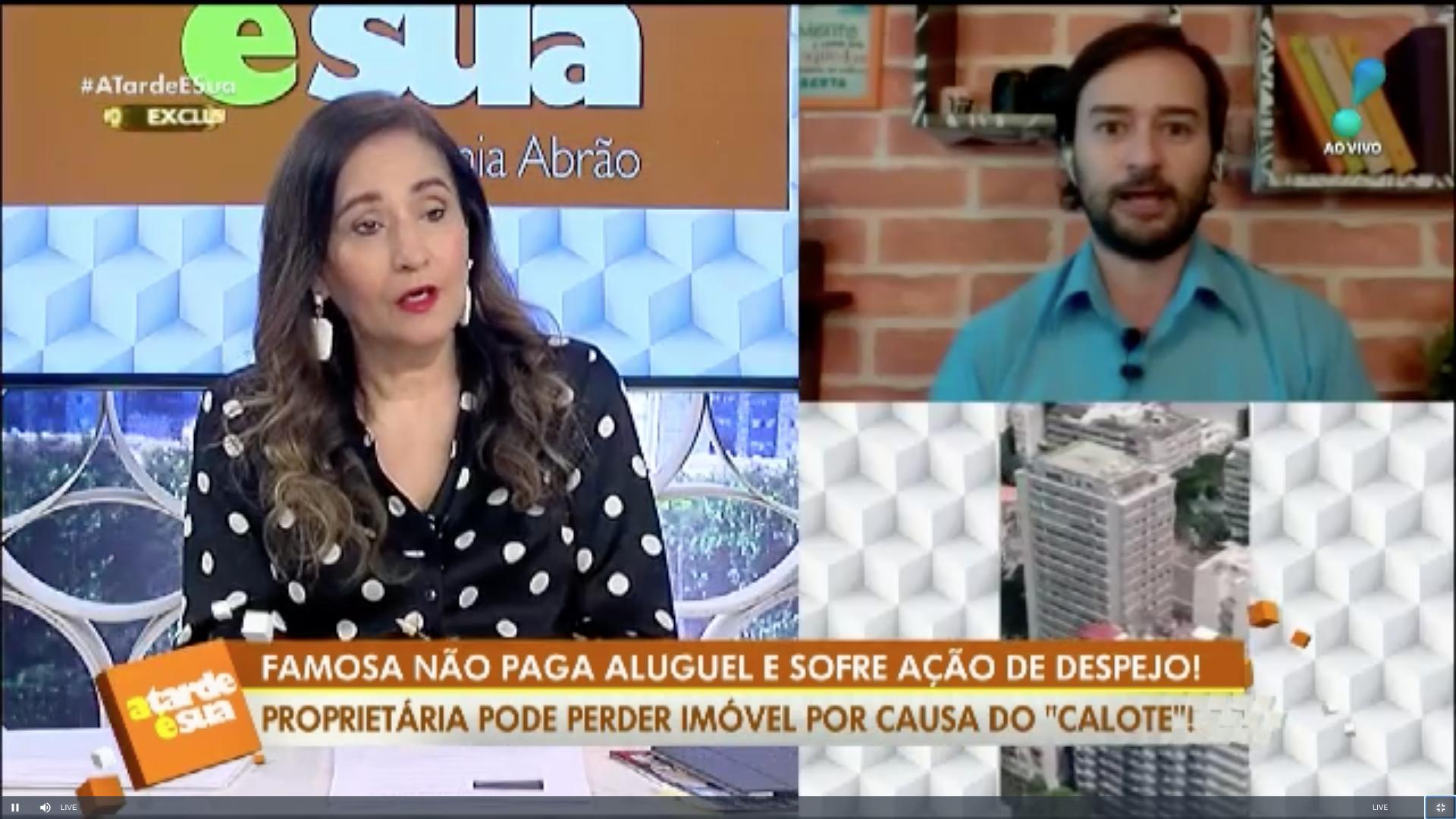Sonia Abrão e Alessandro Lo-Bianco no programa ao vivo (Foto: Reprodução)