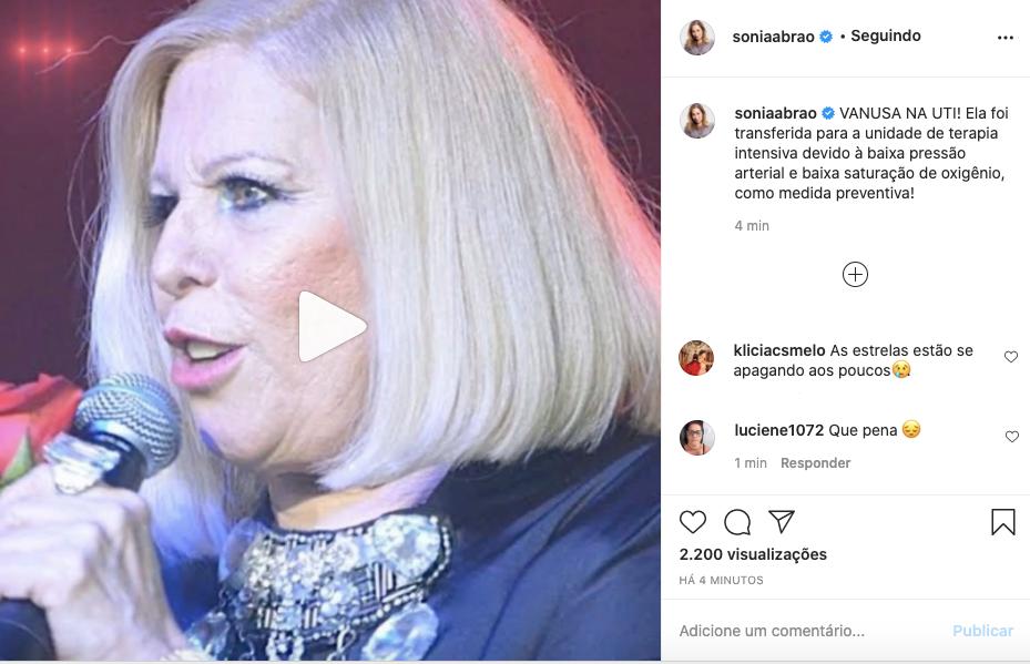 Sonia Abrão anuncia internação de Vanusa na UTI (Foto: Reprodução)
